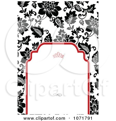 Clipart Black And White Floral Invitation With Red Around Copyspace 2 - Royalty Free Vector Illustration by BestVector