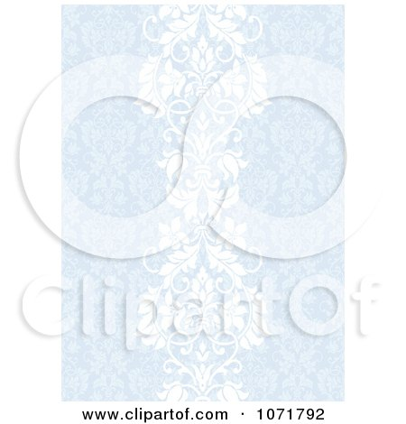 Clipart Blue Damask Floral Invitation Background - Royalty Free Vector Illustration by BestVector