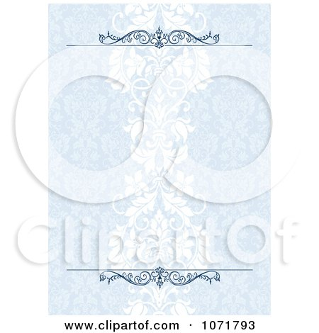 Clipart Blue Damask Floral Invitation Background With Rules - Royalty Free Vector Illustration by BestVector