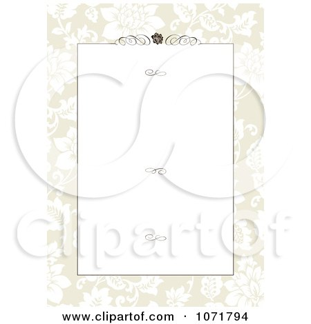 Clipart Tan Floral Invitation With Copyspace Swirls And A Rose - Royalty Free Vector Illustration by BestVector