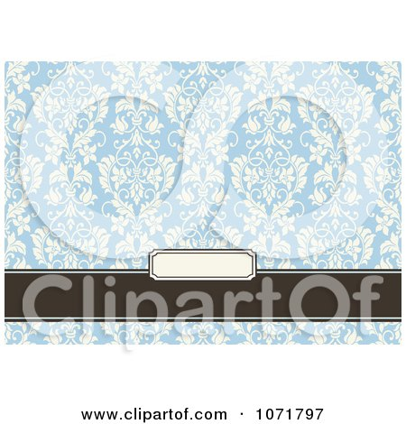 Clipart Blue And Brown Floral Damask Invitation With Copyspace 3 - Royalty Free Vector Illustration by BestVector