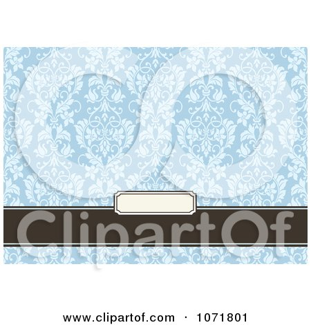 Clipart Blue And Brown Floral Damask Invitation With Copyspace 4 - Royalty Free Vector Illustration by BestVector