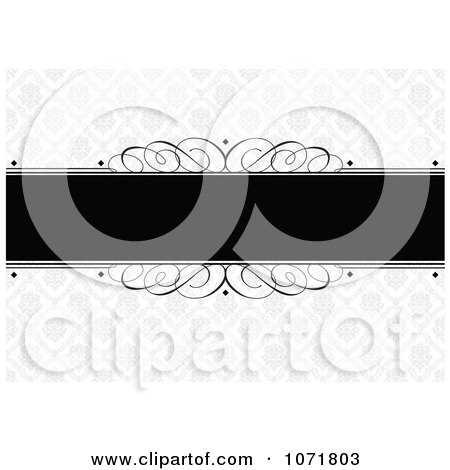 Clipart Black And Gray Swirl Floral Damask Invitation With Copyspace - Royalty Free Vector Illustration by BestVector