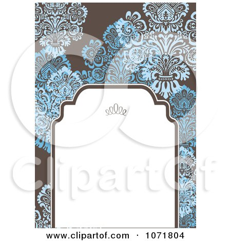 Clipart Blue And Brown Floral Damask Invitation With Copyspace 2 - Royalty Free Vector Illustration by BestVector