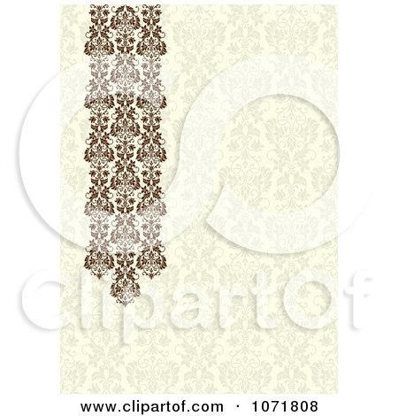 Clipart Beige And Brown Damask Floral Invitation With Copyspace - Royalty Free Vector Illustration by BestVector