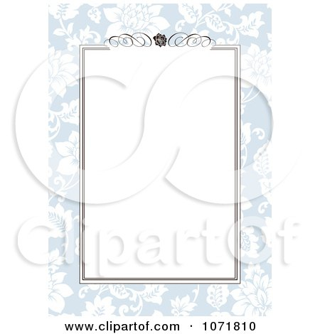 Clipart Blue And Brown Floral Invitation With Copyspace 1 - Royalty Free Vector Illustration by BestVector