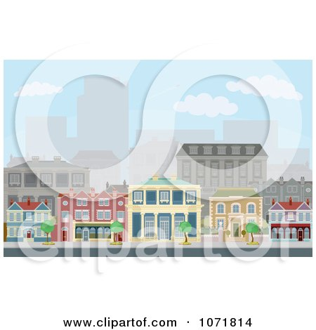Clipart Townhomes On An Urban Street Scene With City Skyscrapers In The Distance - Royalty Free Vector Illustration by AtStockIllustration
