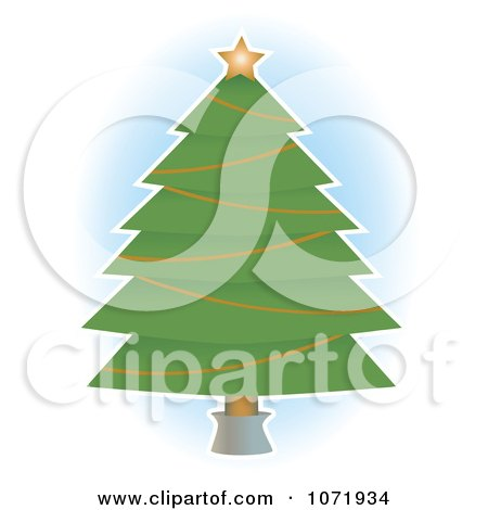 Clipart Star And Garland On A Christmas Tree - Royalty Free Vector Illustration by mheld