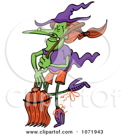Clipart Wicked Halloween Witch Dancing With Her Broom Stick - Royalty Free Vector Illustration by Zooco