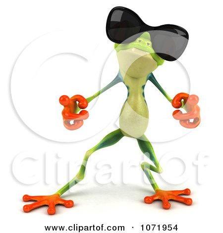 Clipart 3d Argie Frog Wearing Sunglasses And Dancing 1 - Royalty Free CGI Illustration by Julos