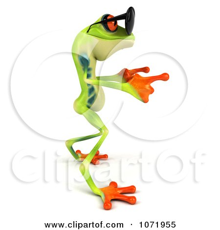 Clipart 3d Argie Frog Wearing Sunglasses And Dancing 2 - Royalty Free CGI Illustration by Julos