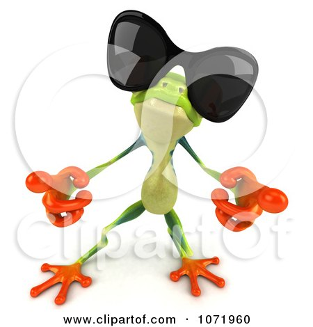 Clipart 3d Argie Frog Wearing Sunglasses And Dancing 3 - Royalty Free CGI Illustration by Julos