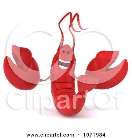 Clipart 3d Happy Red Lobster 1 - Royalty Free CGI Illustration by Julos