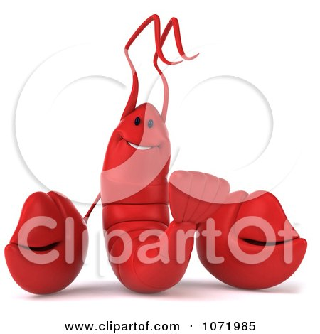 Clipart 3d Happy Red Lobster 2 - Royalty Free CGI Illustration by Julos