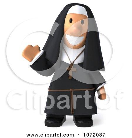 funny waving nun