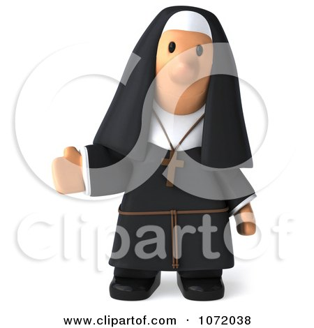 Clipart 3d Nun Presenting 2 - Royalty Free CGI Illustration by Julos