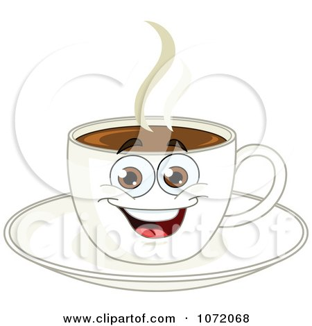 Clipart Happy Coffee Cup Character On A Saucer - Royalty Free Vector Illustration by yayayoyo