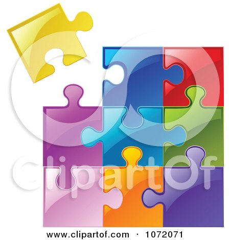 Clipart 3d Colorful Jigsaw Puzzle Of Diverse Pieces - Royalty Free Vector Illustration by yayayoyo