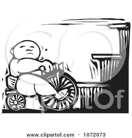 Clipart Black And White Woodcut Of A Baby On A Trike At The Bottom Of Stairs - Royalty Free Vector Illustration by xunantunich