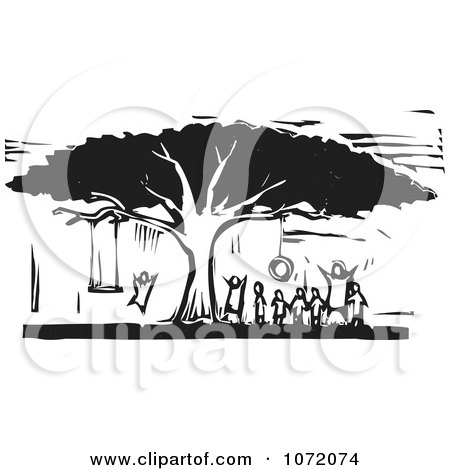 Clipart Black And White Woodcut Of Children Playing On Tree Swings - Royalty Free Vector Illustration by xunantunich