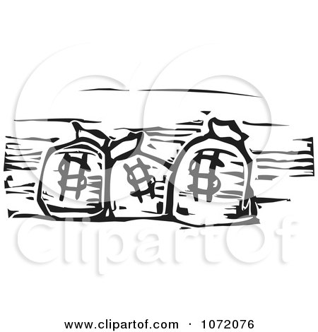 Clipart Black And White Woodcut Of Dollar Bank Money Bags - Royalty Free Vector Illustration by xunantunich