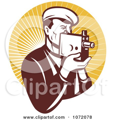 Clipart Vintage Camera Man Holding A Camera Over Orange Rays - Royalty Free Vector Illustration by patrimonio