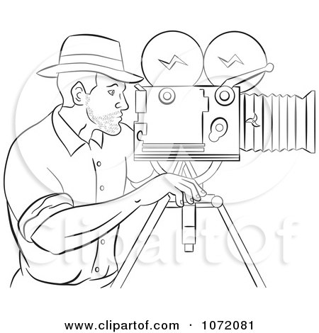Clipart Sketched Camera Man At Work - Royalty Free Vector Illustration by patrimonio