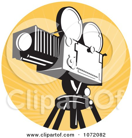 Clipart Vintage Movie Film Camera Over Orange Rays - Royalty Free Vector Illustration by patrimonio