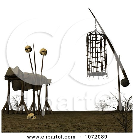 Clipart 3d Cage And Dead Body With Skulls - Royalty Free CGI Illustration by Ralf61