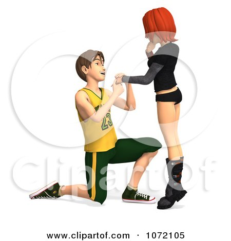Clipart 3d Teen Boy Proposing Marriage To His Girlfriend 1 - Royalty Free CGI Illustration by Ralf61