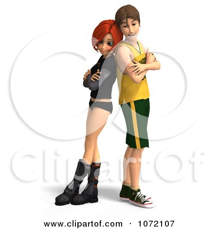 Clipart 3d Teen Couple Standing Back To Back - Royalty Free CGI Illustration by Ralf61