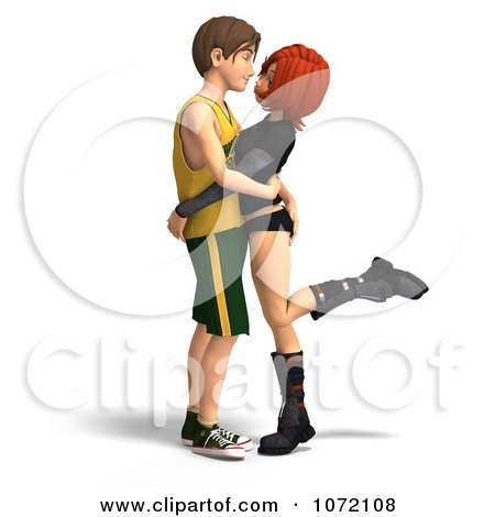Clipart 3d Teen Couple Embracing - Royalty Free CGI Illustration by Ralf61