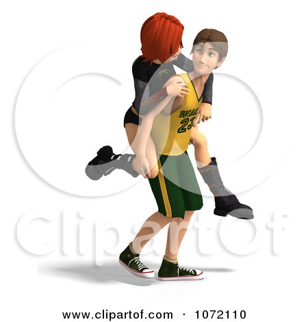Clipart 3d Teen Couple Giving Piggy Back Rides 2 - Royalty Free CGI Illustration by Ralf61