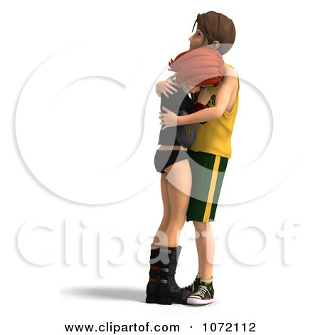 Clipart 3d Sad Teen Couple Embracing 1 - Royalty Free CGI Illustration by Ralf61