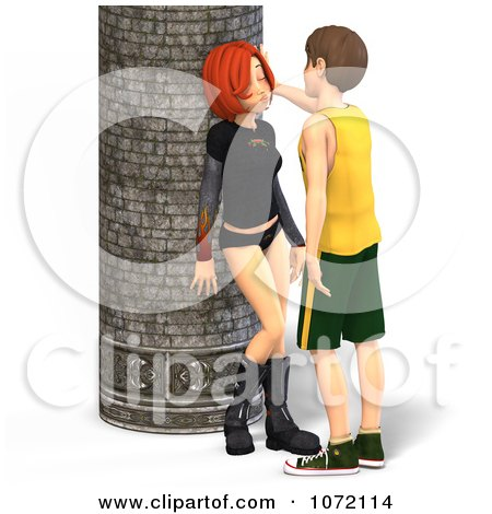 Clipart 3d Teen Couple About To Kiss By A Column - Royalty Free CGI Illustration by Ralf61