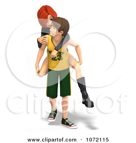 Clipart 3d Teen Couple Giving Piggy Back Rides 1 - Royalty Free CGI Illustration by Ralf61