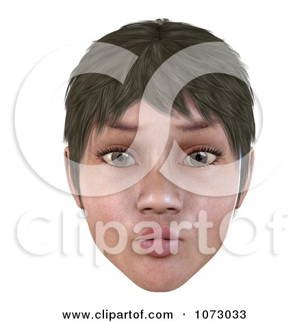 Clipart 3d Short Haired Girls Face With Puckered Lips - Royalty Free CGI Illustration by Ralf61