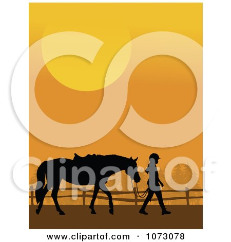Clipart Silhouetted Girl Leading Her Horse Against An Orange Sunset - Royalty Free Vector Illustration by Maria Bell