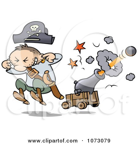 Clipart Pirate Jumping And Plugging His Ears While A Cannon Shoots A Ball - Royalty Free Vector Illustration by gnurf