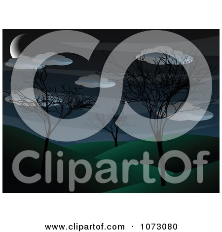 Clipart Crescent Moon And Clouds Over Bare Trees In A Hilly Park Landscape - Royalty Free Vector Illustration by mheld