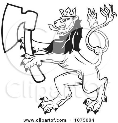 Clipart Black And White Heraldic Lion With An Axe - Royalty Free Vector Illustration by dero