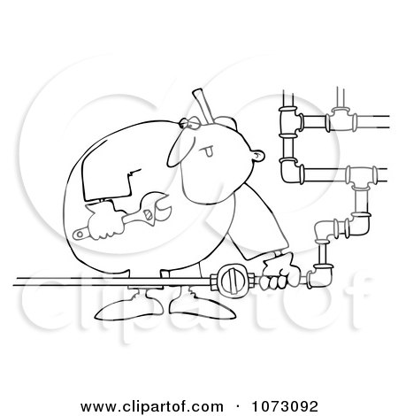 Clipart Outlined Gas Valve Repair Man - Royalty Free Vector Illustration by djart