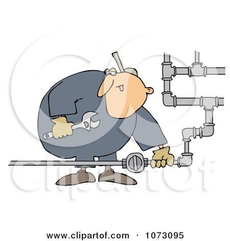 Clipart Natural Gas Valve Repair Man - Royalty Free Vector Illustration by djart