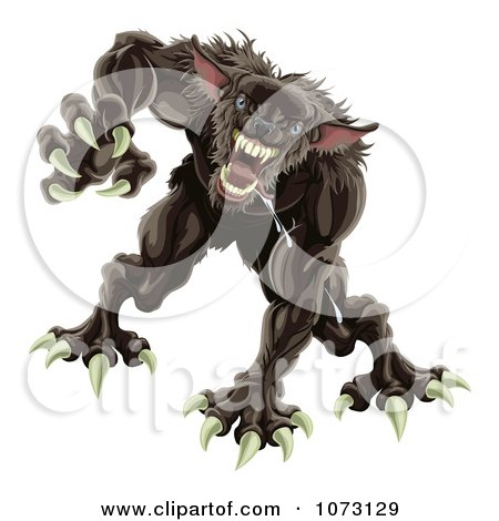 Clipart 3d Attacking Werewolf - Royalty Free Vector Illustration by AtStockIllustration