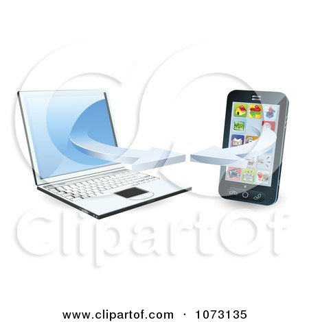 Clipart 3d Cell Phone Syncing With A Laptop Computer - Royalty Free Vector Illustration by AtStockIllustration