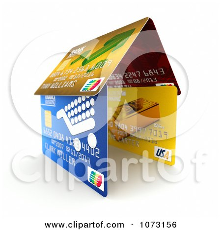 Clipart 3d Debit Or Credit Cards Forming A House - Royalty Free CGI Illustration by stockillustrations