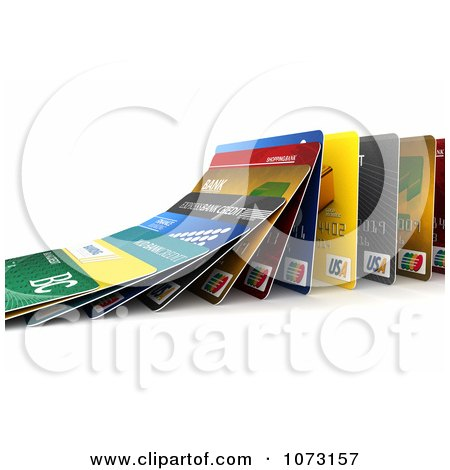 Clipart 3d Falling Debit Or Credit Cards Symbolizing The Domino Effect - Royalty Free CGI Illustration by stockillustrations