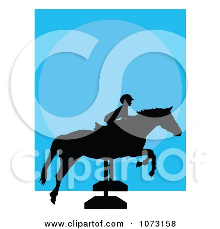 Clipart Silhouetted Child On A Hurdle Jumping Horse - Royalty Free Vector Illustration by Maria Bell