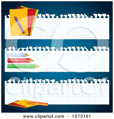 Clipart Graph Paper Back To School Banners - Royalty Free Vector Illustration by MilsiArt