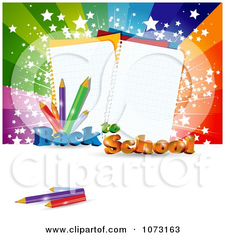 Clipart 3d Back To School Background With Paper And Pencils Against A Burst - Royalty Free Vector Illustration by MilsiArt